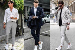Tuyệt chiêu phối đồ quần tây giày thể thao chuẩn phong cách